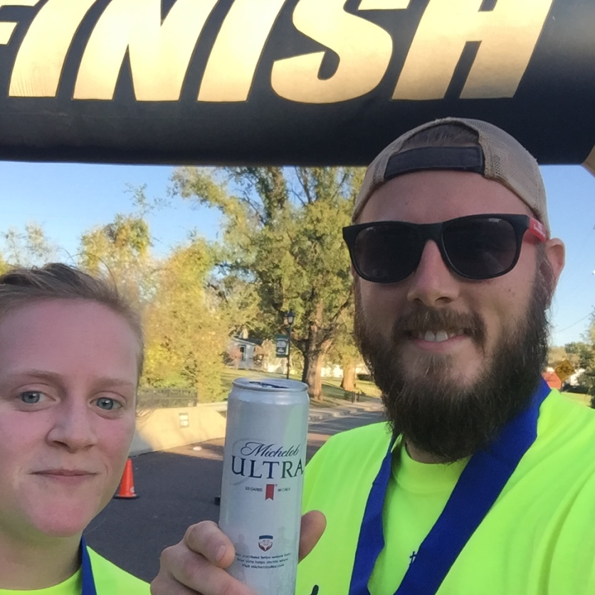Post-race selfie with free beer ;)